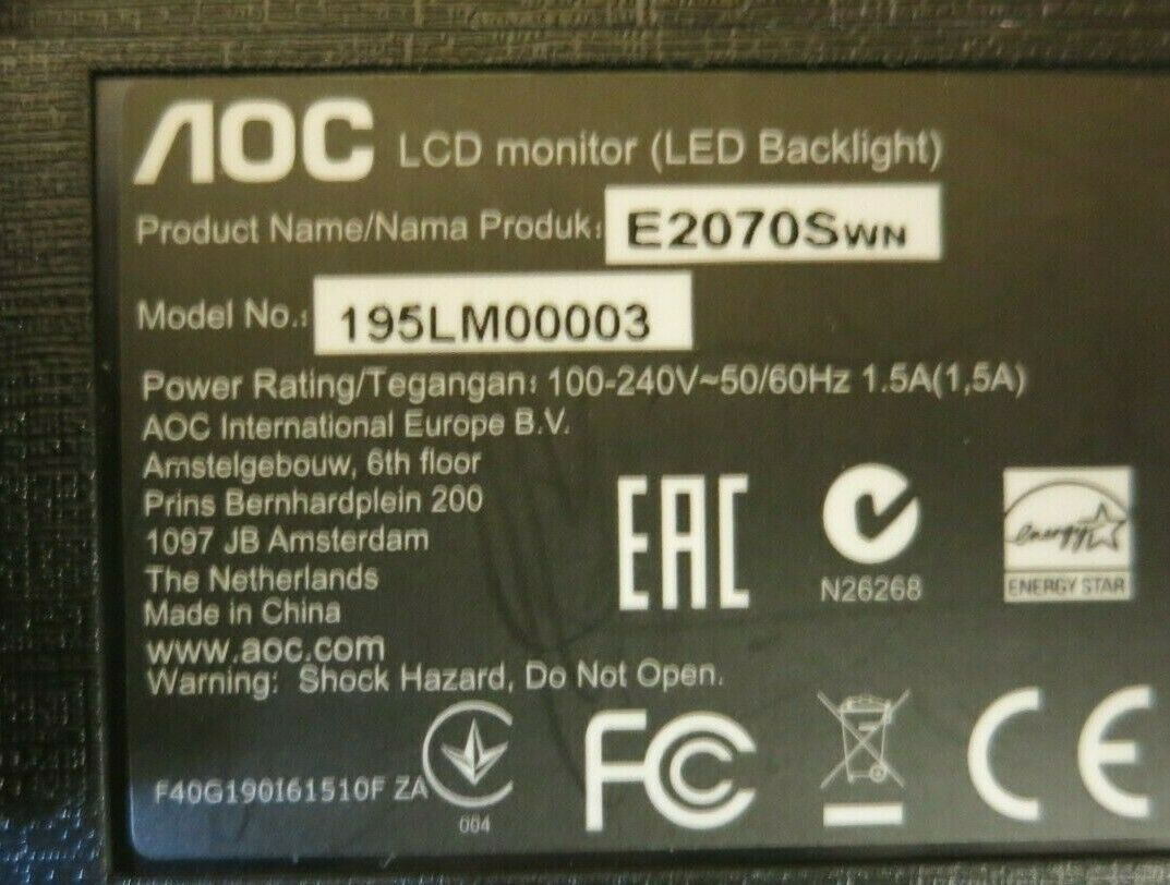 AOC E2070SWN 195LM00003 19 5 LCD TFT LED Backlit Widescreen